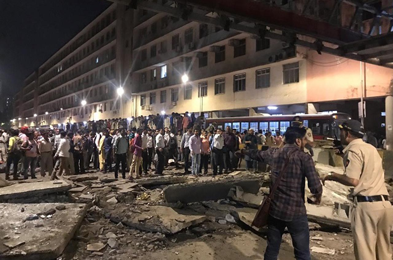 Foot overbridge collapsed outside Mumbai CST.
