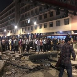 Foot overbridge collapsed outside Mumbai CST.