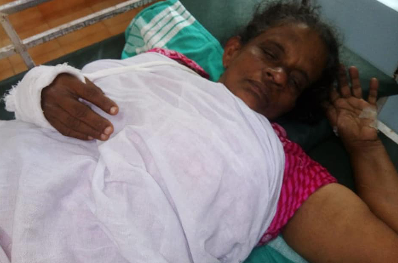 Kerala police hit an aged woman very badly for no reason. Bones are broken and admitted at hospital.