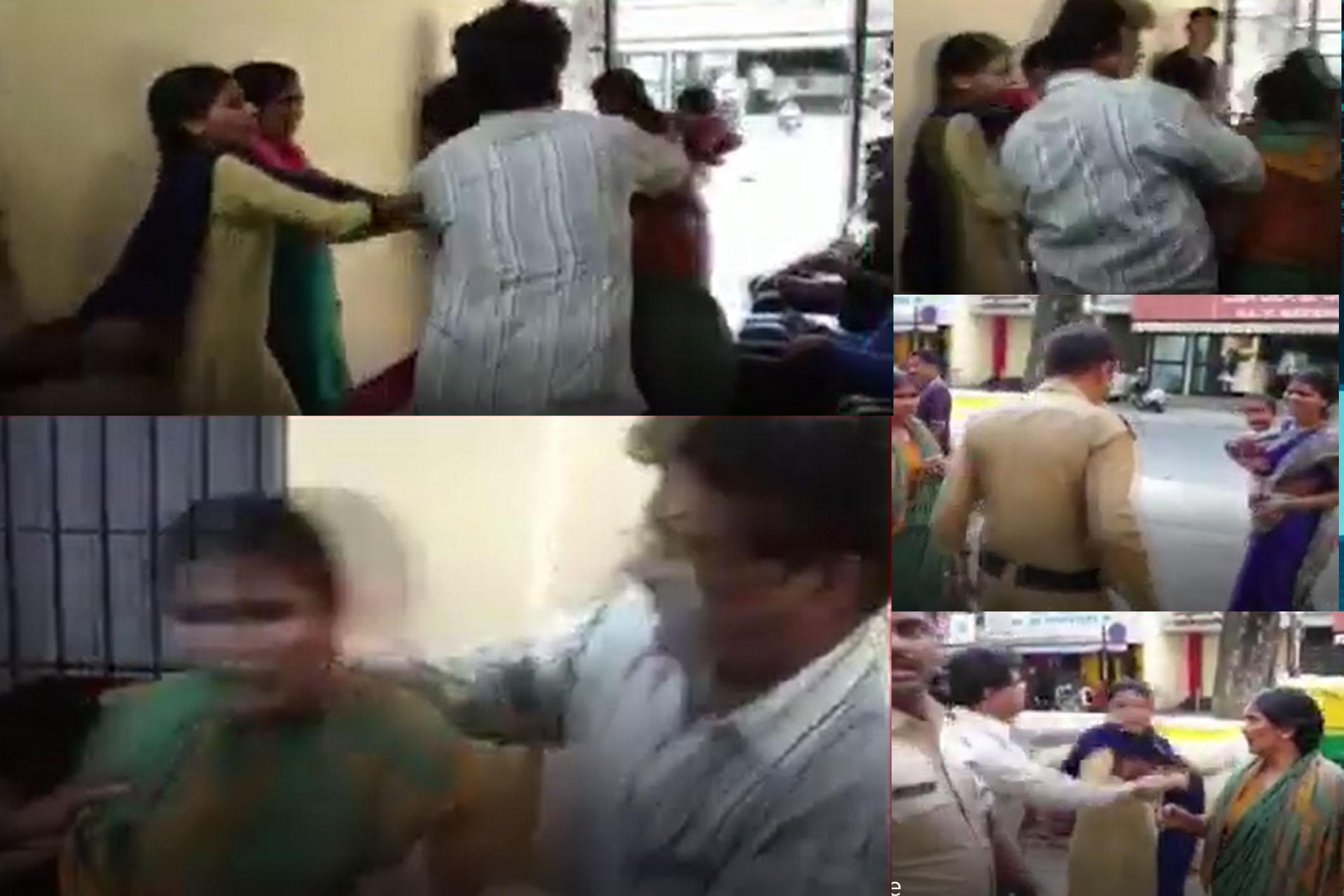 Karnataka police seen assault women inside the police station.